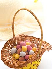 Easter bonnet and basket of chocolate eggs