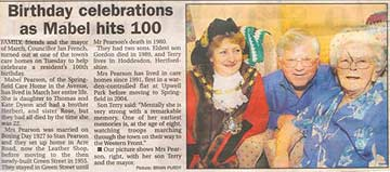 Photograph showing a newspaper cutting of a recent birthday celebration for a Springfield Care Home centenarian